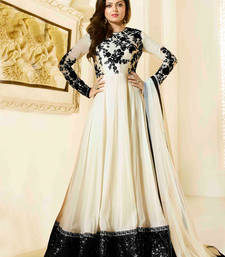 Buy cream embroidered georgette semi stitched salwar with dupatta ethnic-suit online