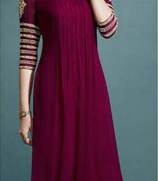 Buy Maroon embroidered georgette semi stitched kurtis georgette-kurti online