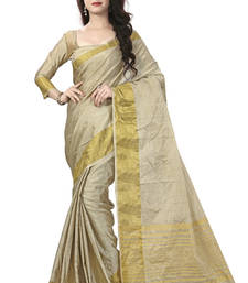 Buy Beige woven art silk saree with blouse ethnic-saree online