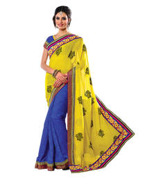 Buy Hypnotex Yellow Blue Pure Georgette Cotton Jacquard Saree  Bhakti2716 party-wear-saree online