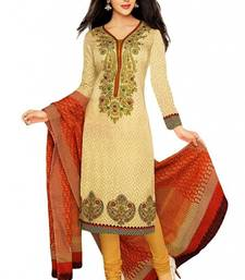 Buy Beige cotton printed unstitched salwar with dupatta Woman online