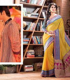 Buy 2 States by Vishal Yellow Georgette Saree 32611 other-actress-saree online