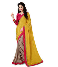 Buy Light yellow printed crepe saree with blouse crepe-saree online