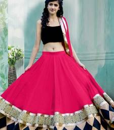 Buy Pink embroidered georgette semi stitched lehenga set with Blouse ghagra-choli online