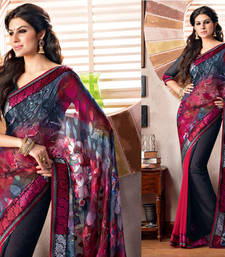 Buy 2 States By Vishal Black Satin Saree  From 2 States Movie 32612 Saree online