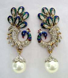 Buy BEAUTIFUL STONE STUDDED PEACOCK DESIGN HANGINGS IN VICTORIAN STYLE Earring online