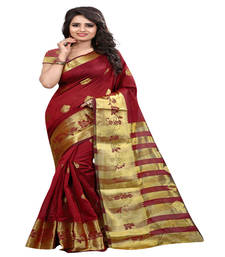 Buy maroon Printed tissue saree with blouse tissue-saree online