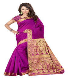 Buy rani pink Printed tissue saree with blouse tissue-saree online