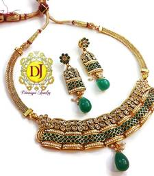 Buy Green pearl polki choker set necklace-set online