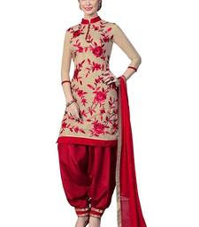 Buy red and cream embroidered cotton unstitched salwar with dupatta eid-special-salwar-kameez online
