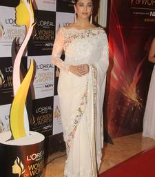 Buy White embroidered net saree with blouse bipasha-basu-saree online