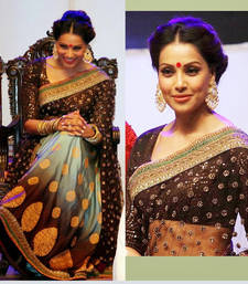 Buy Chocolate embroidered net saree with blouse bipasha-basu-saree online
