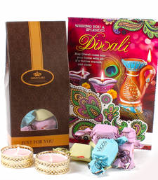 Buy Delicious chocolate with diwali card and designer diya diwali-chocolate online