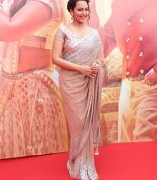 Buy Peach embroidered georgette saree with blouse sonakshi-sinha-saree online