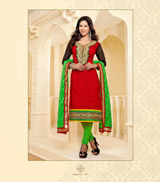 Buy  Brasso Net Red And Green Unstitched Dress Material dress-material online