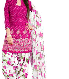 Pink embroidered cotton unstitched salwar with dupatta shop online