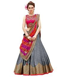 Buy Grey Silk embroidered unstitched lehenga choli navratri-lehenga-chaniya-choli online