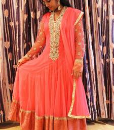 Buy Coral Resham Thread Embroidered Italian Net Anarkali anarkali-salwar-kameez online