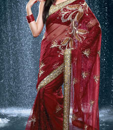 Buy Hypnotex Red Faux Georgette Tissue Saree Jewel524 georgette-saree online