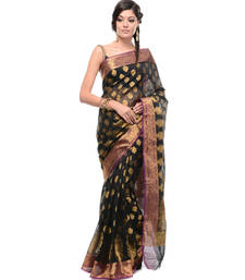 Buy Black woven super net saree with blouse supernet-saree online