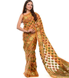 Buy Gold woven super net saree with blouse supernet-saree online