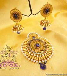 Antique Polki Blue Pendant Set  shop online