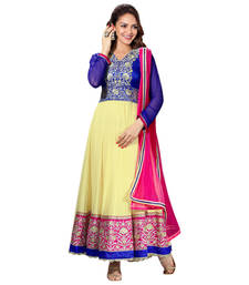 Buy Hypnotex Cream Art Silk Georgette Dress Materials party-wear-salwar-kameez online