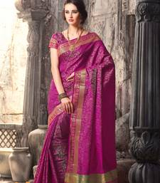 Buy Pink plain tussar silk saree with blouse tussar-silk-saree online