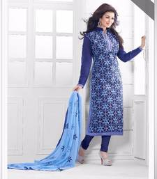 Buy Blue chanderi  embroidered semi stitiched salwar with dupatta ayesha-takia-salwar-kameez online