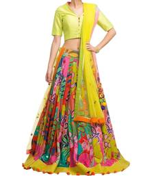 Buy multicolor silk printed semi stitched party wear lehenga choli party-wear-gown online