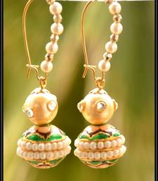 Buy Meenakari Beaded Pearl semi precious Earrings hoop online