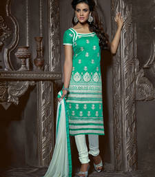 Buy Sea green embroidered chanderi silk salwar with dupatta ethnic-suit online