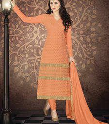 Buy Dark coral embroidered georgette salwar with dupatta salwars-and-churidar online
