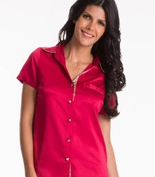 Buy red button front short sleeve top nightwear online