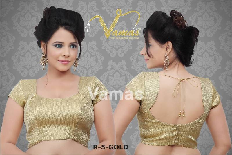 Buy 1 meter unstitched golden blouse fabric online