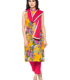Buy Yellow faux crepe printed stitched kurti ethnic-kurti online