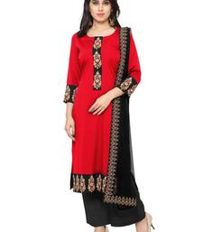 Buy Red faux crepe printed stitched kurti ethnic-kurti online