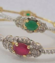 AD STONE SETTED 2 PICS RED GREEN N WHITE ZERKON STONES BANGLES shop online