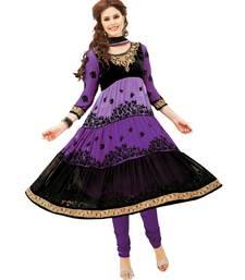 Buy Libas-Purple and Black Unstitched Anarkali Suit dress-material online