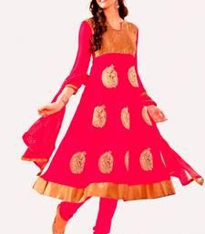 Buy Libas-Fascinating Pink Anarkali Unstitched Dress dress-material online