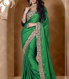 Buy Green Satin Chiffon Saree with Resham Embroidery and Stone Work  satin-saree online