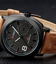 Buy New Exclusive latest Brown colour Leather Strap watch arrival watch online
