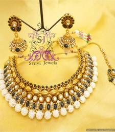 Buy Unique Pearl  Black Antique Polki Necklace necklace-set online