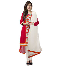 Buy Deep Red Georgette Straight Fit Suit with Embroidery Lace Work gifts-for-mom online