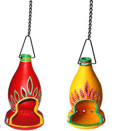 Buy Twin colourful terracotta hanging lanterns candle holder gifts-for-mom online