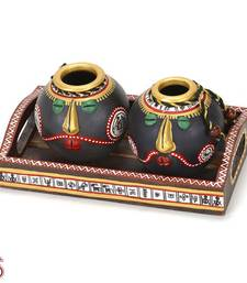 Buy Hand painted in Tribal style Terracotta vase set and Tray gifts-for-mom online