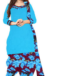 Buy Blue embroidered crepe unstiched salwar with dupatta punjabi-suit online