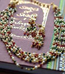 Buy Layered Red, Green & Pearl Mala & Earring - 6 Line necklace-set online