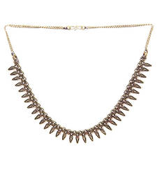 Buy Gold Leaves Spikes Necklace Necklace online