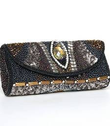 Buy Black Metallic Abstract Embroidered Clutch clutch online